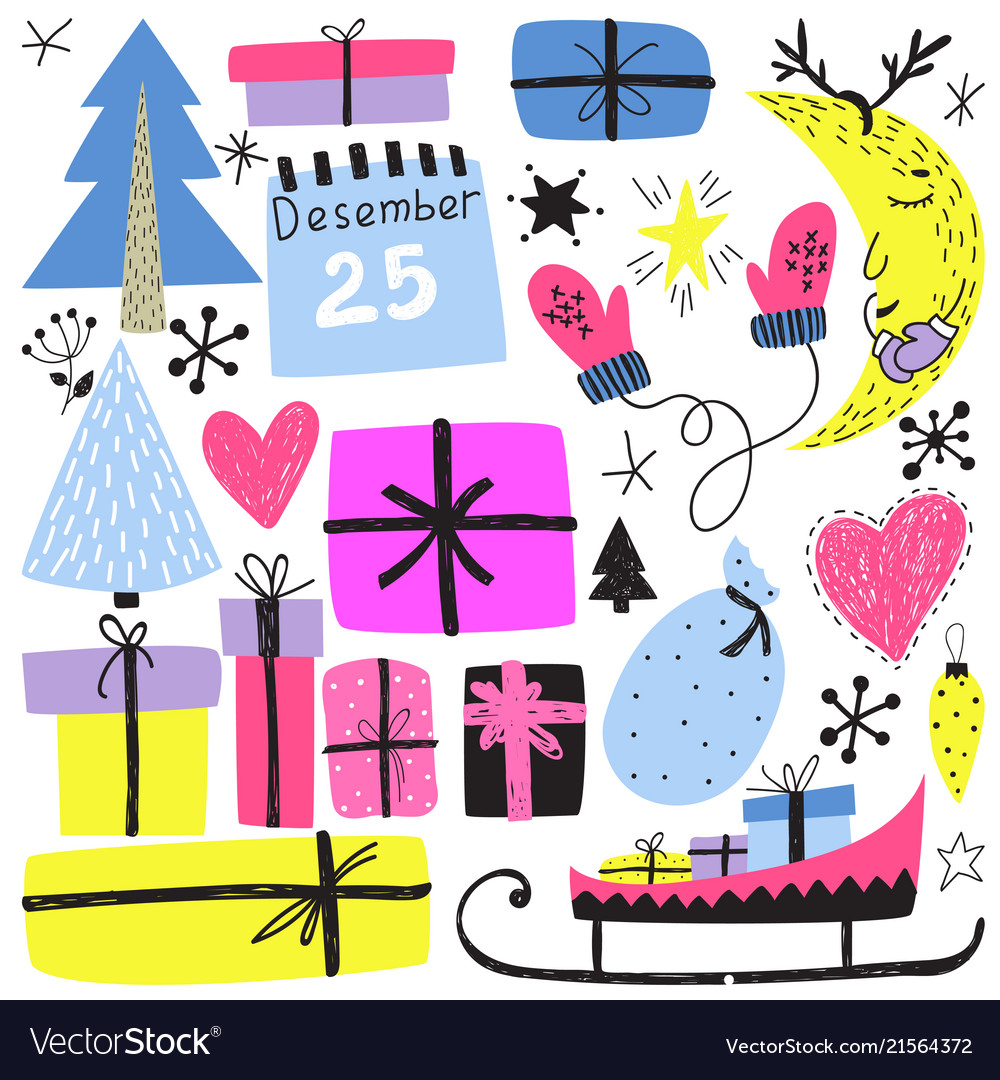 New year s and christmas winter holiday symbols