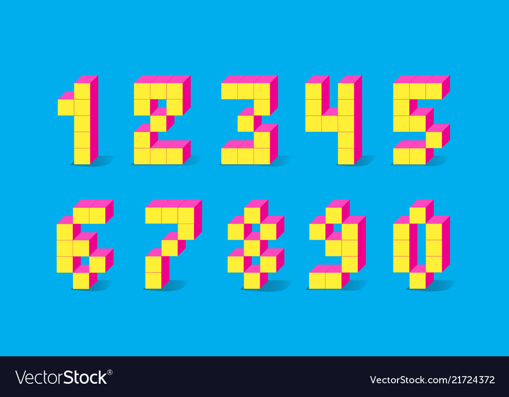 Pixel retro video game numbers 80 s retro