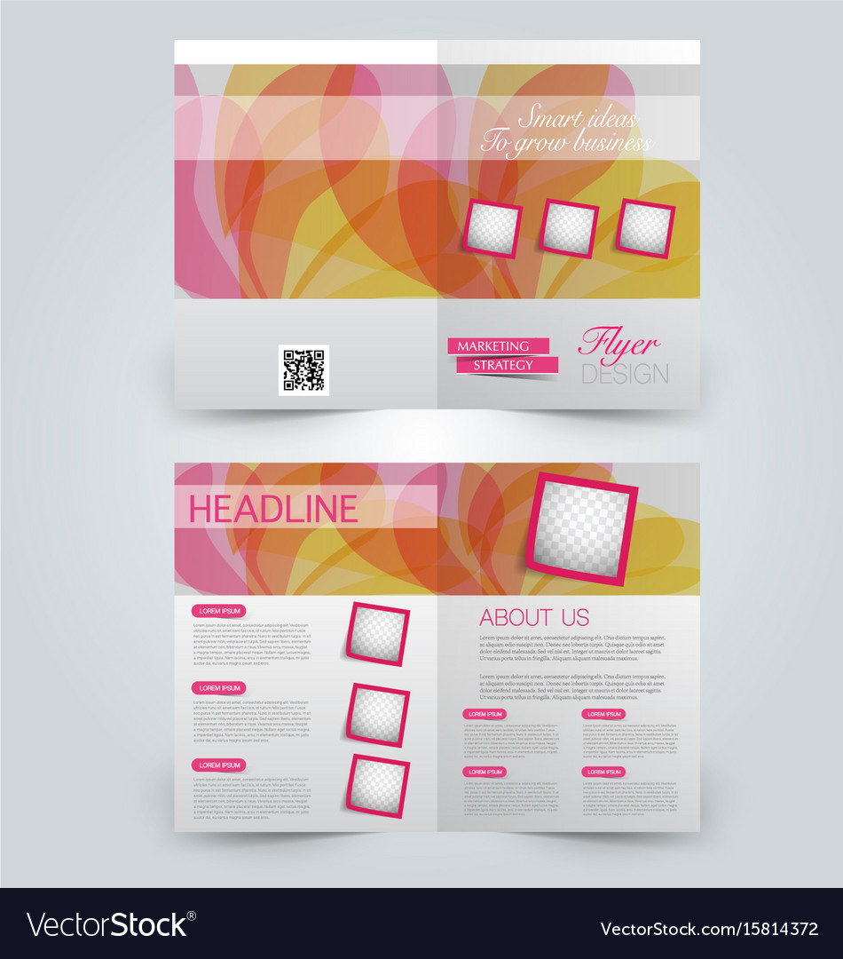 Two Page Fold Brochure Template Design Royalty Free Vector - Two page brochure template