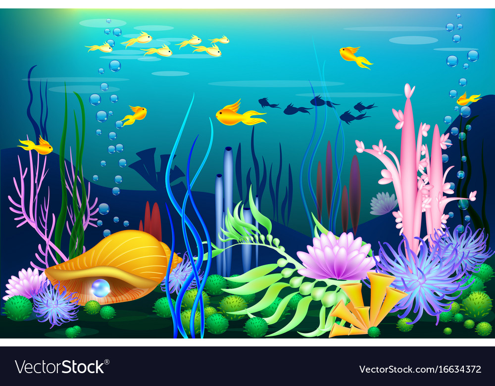 Undersea world with golden seashell fish and