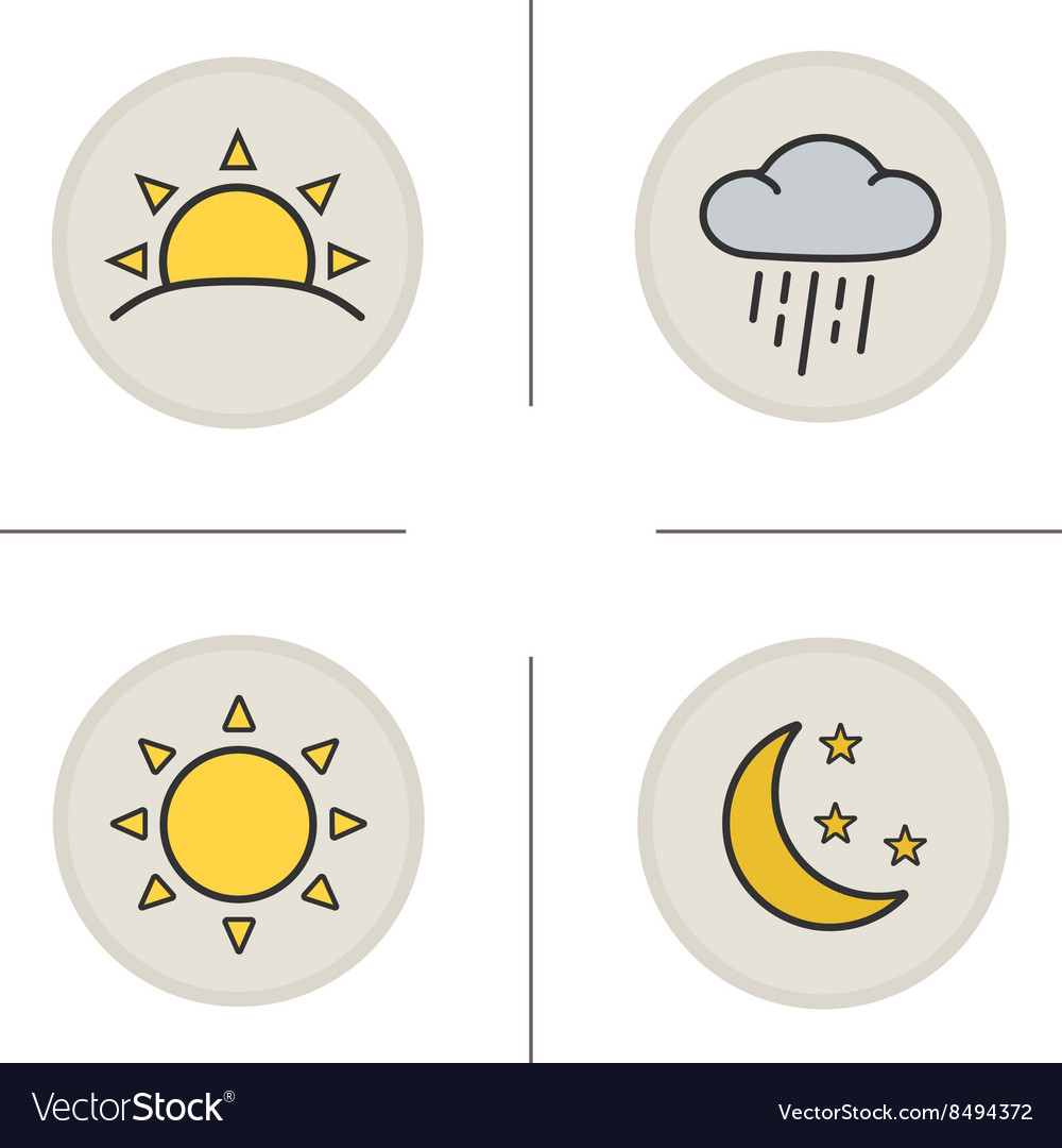 Weather color icons set