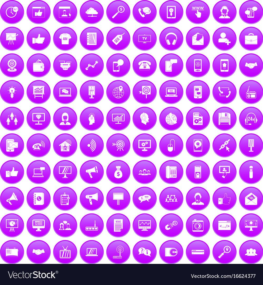100 help desk icons set purple vector image