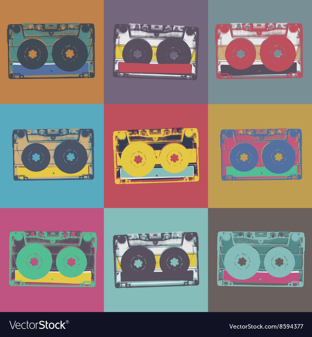 Audiocassette retro popart music seamless