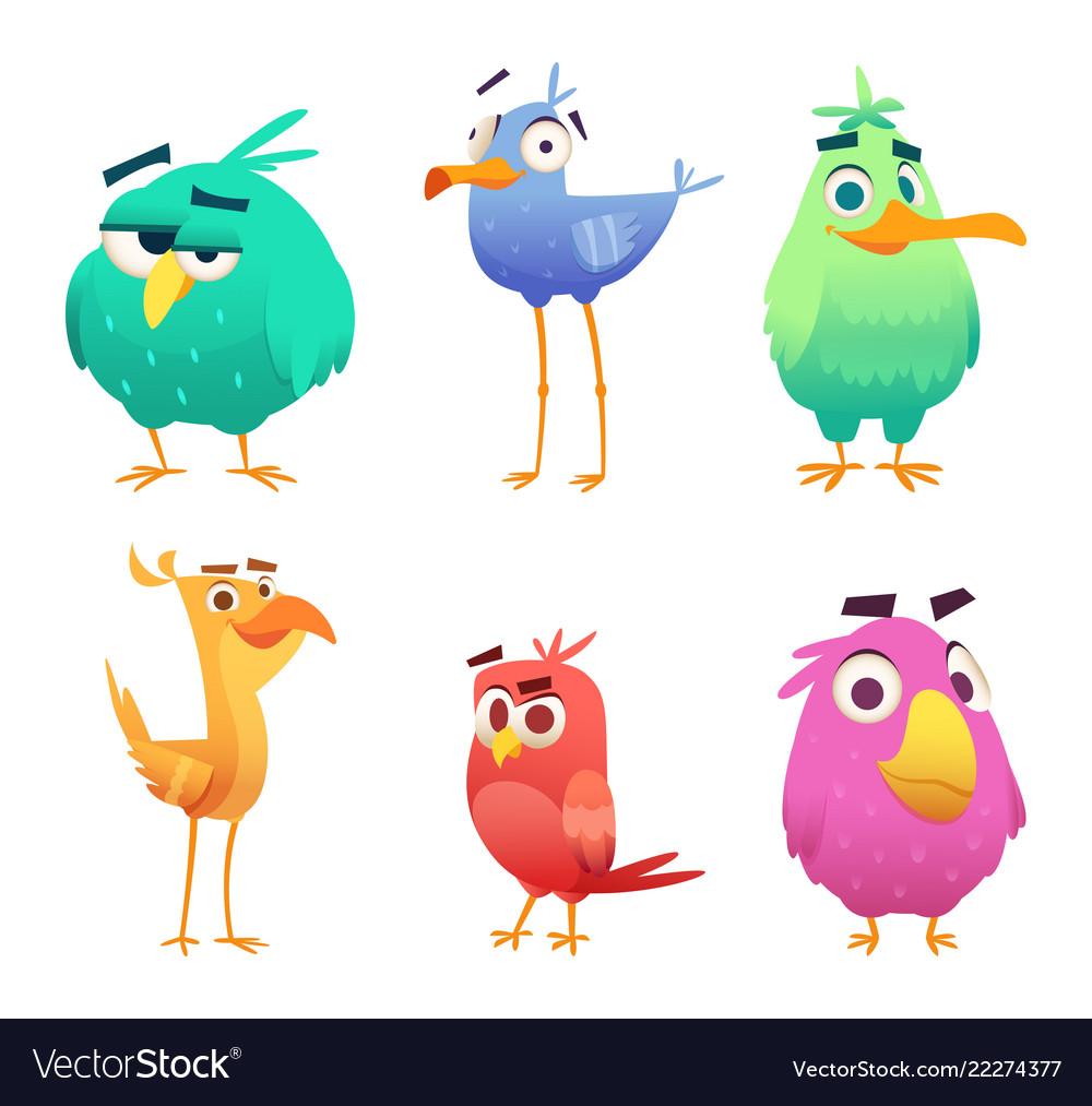 Cartoon funny birds faces of cute animals colored