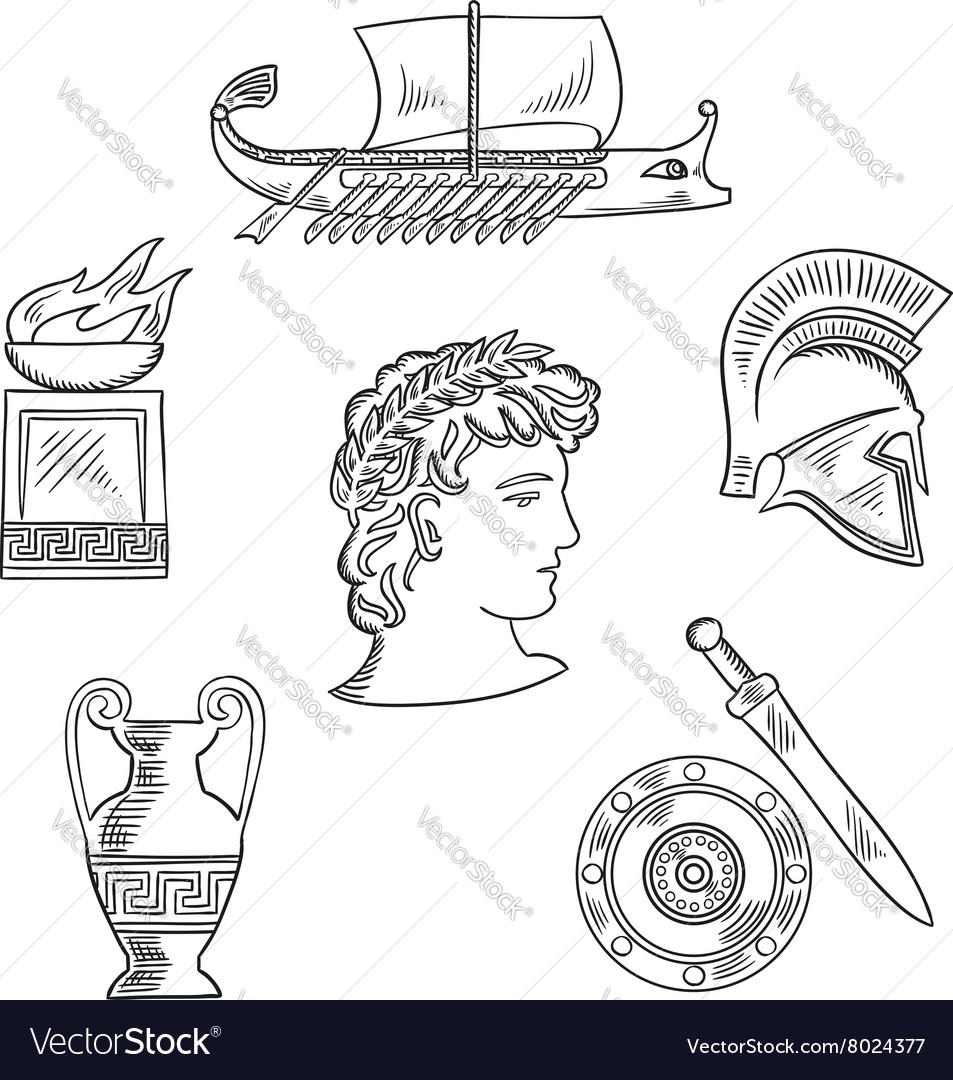 Culture Symbols Of Ancient Greece Royalty Free Vector Image