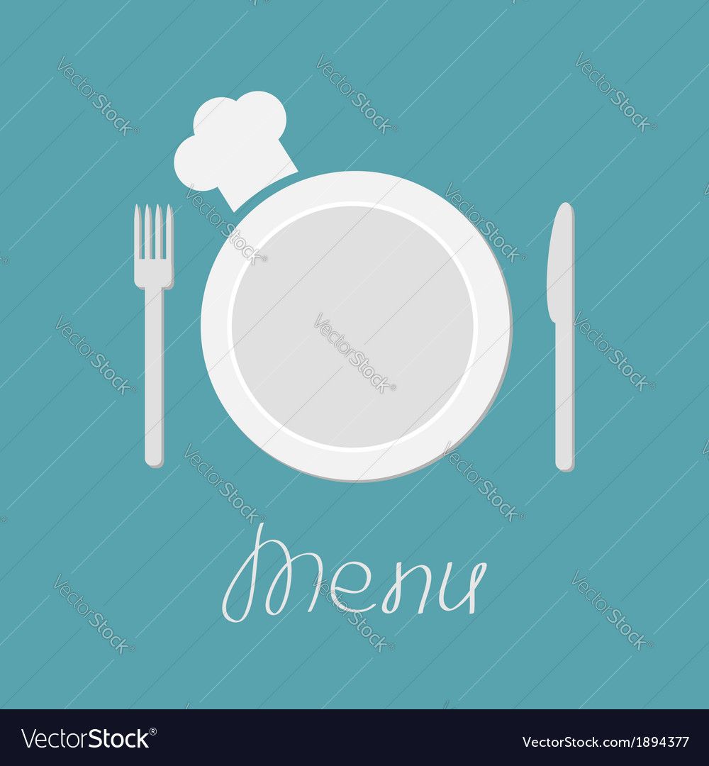 Fork plate knife and chefs hat Menu card flat