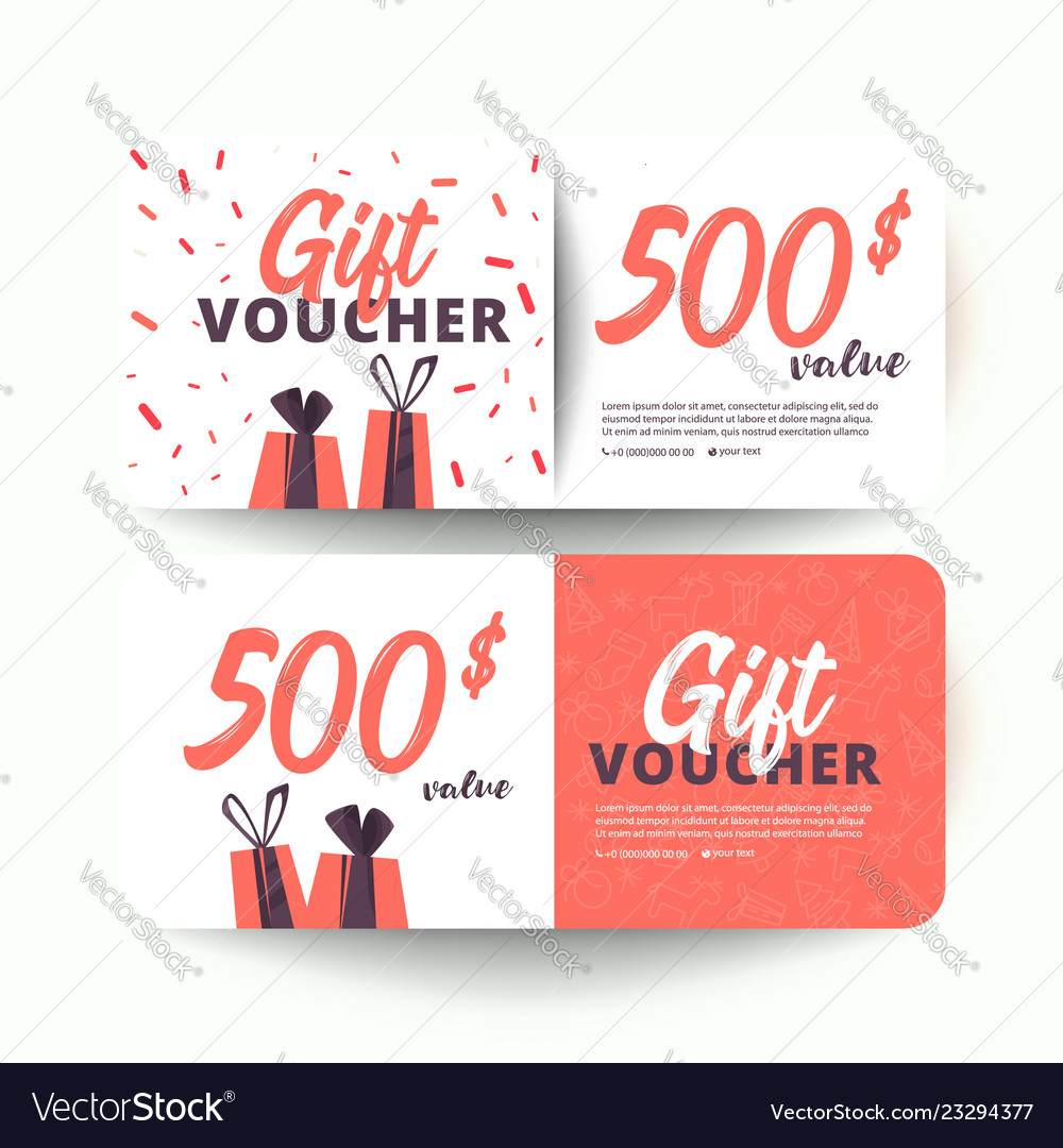 Gift Certificate Gift Card Gift Voucher Coupon Vector Image