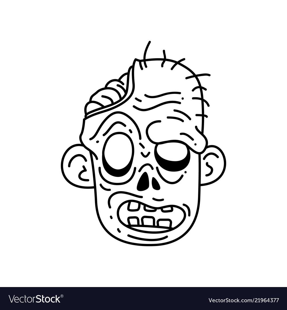 Halloween Zombie Head Cartoon Royalty Free Vector Image
