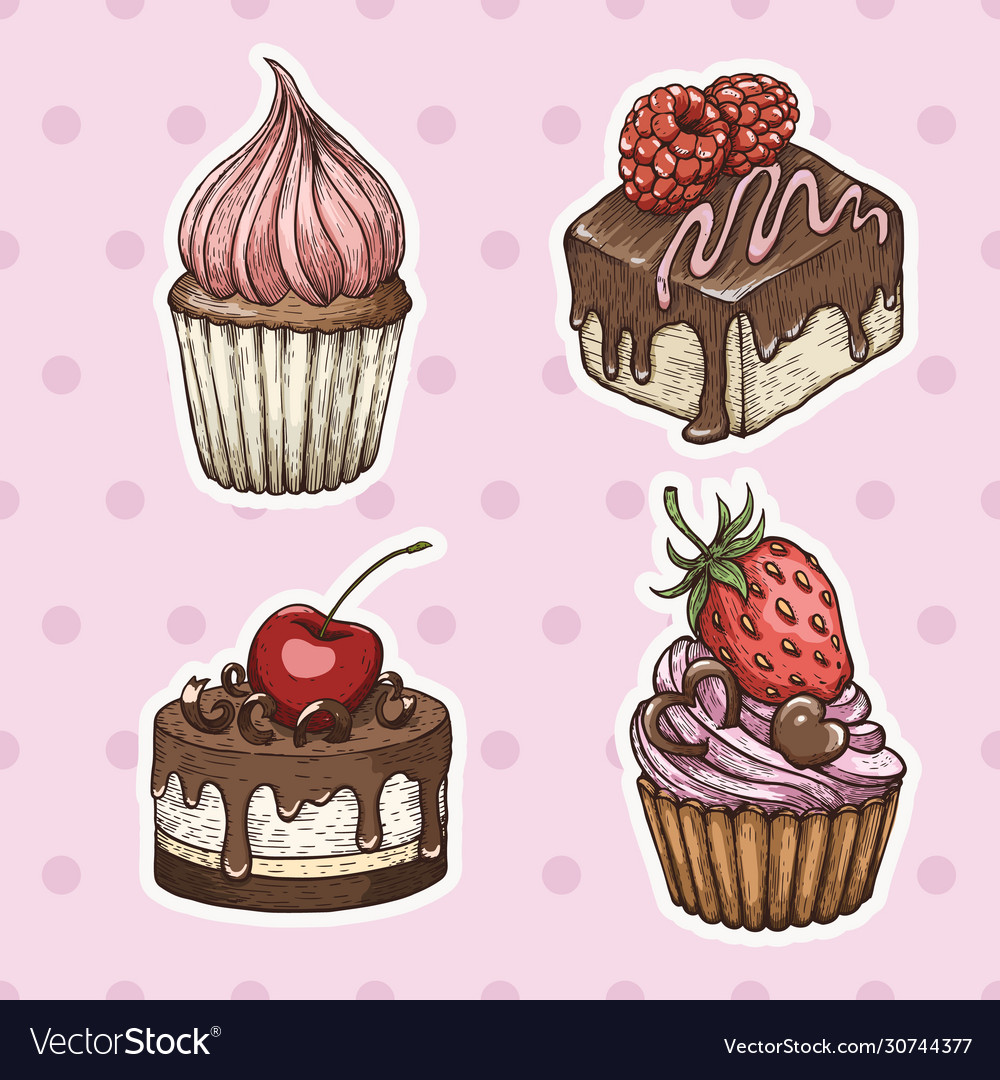 Hand drawn cakes vintage colorful food sketches
