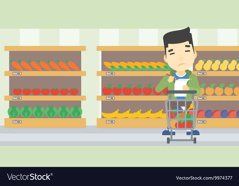 man with shopping list royalty free vector image