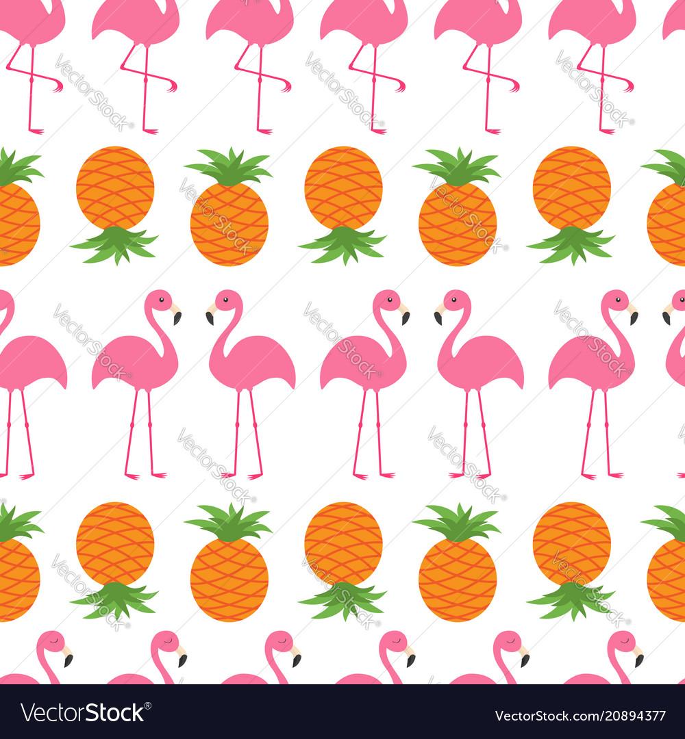 Pineapple pink flamingo icon set seamless pattern