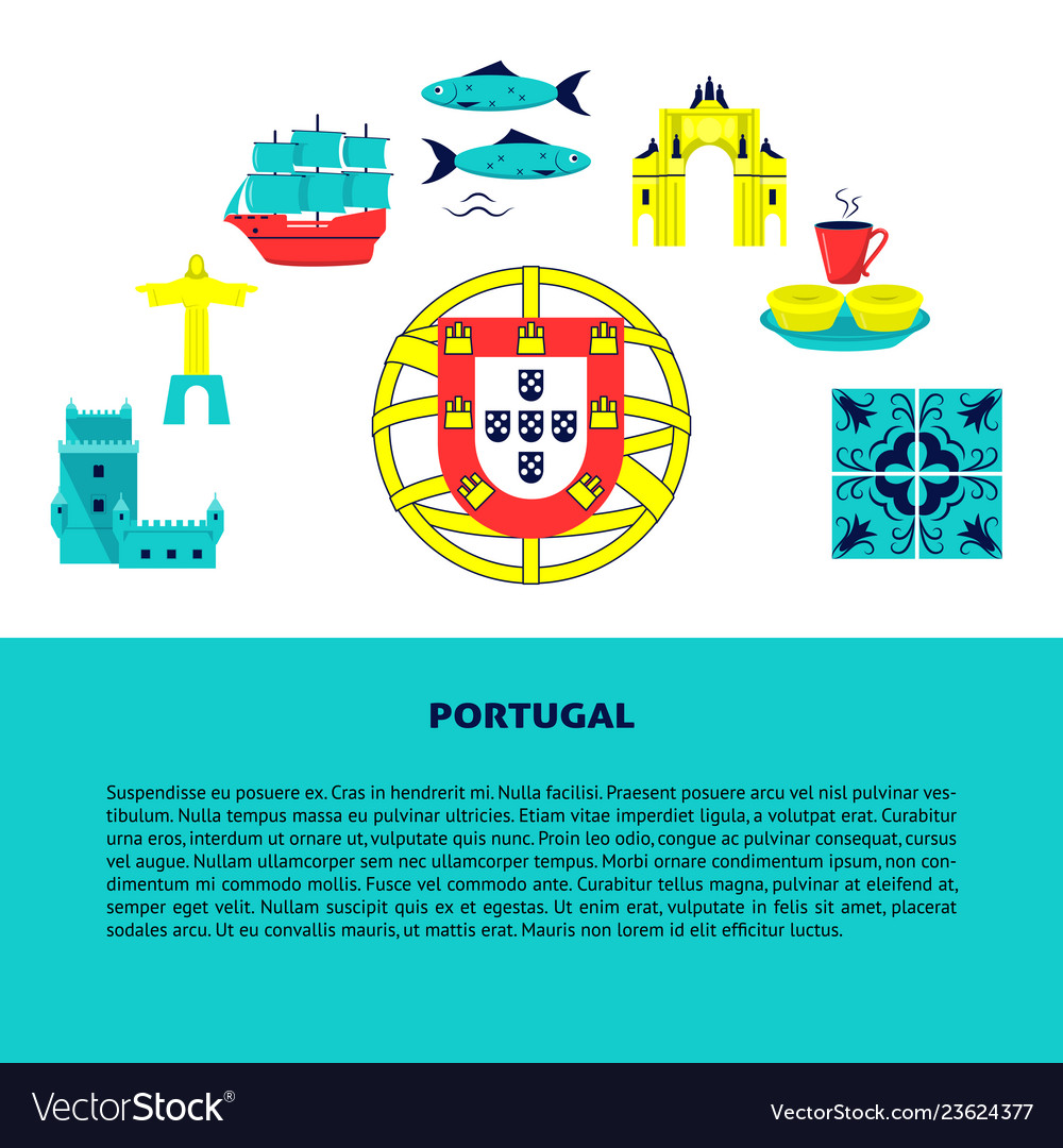 Portugal concept banner with icons in flat style