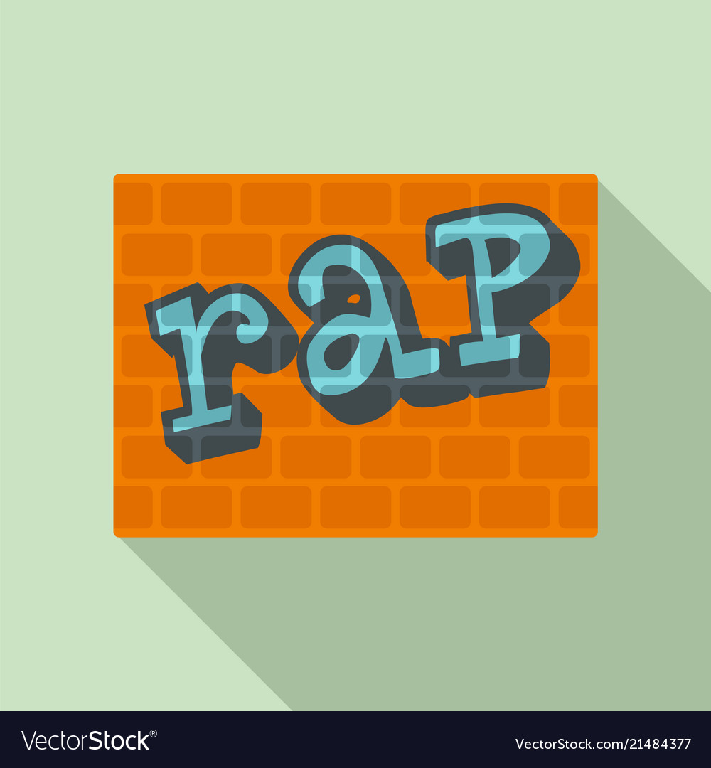 Rap on bricks wall icon flat style