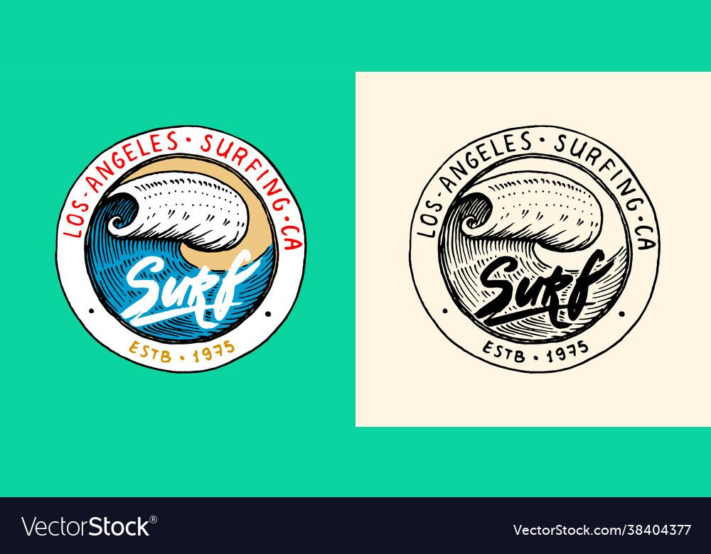 Sea wave emblem surfing sign summer surf blue