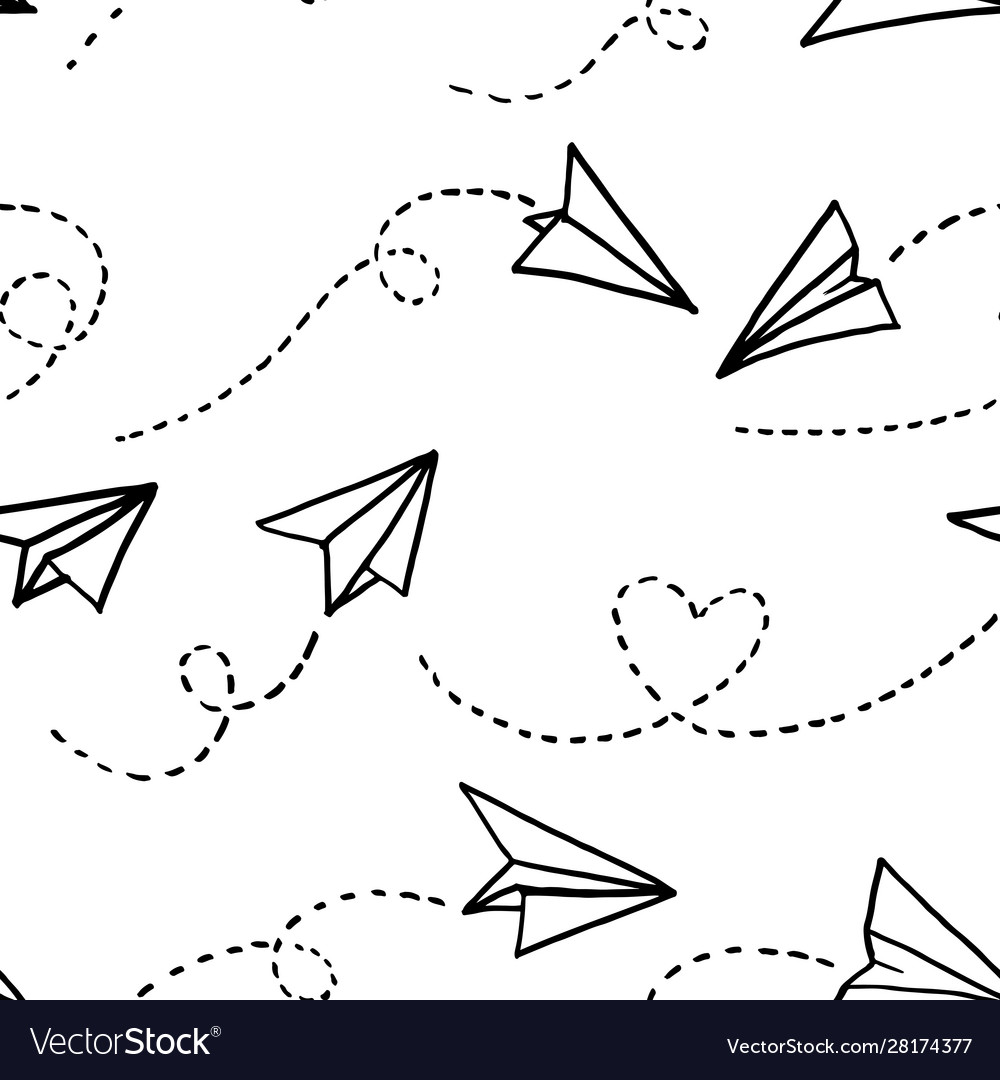 Seamless pattern paper airplanes on white
