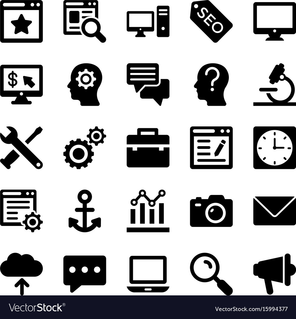 Seo and digital marketing glyph icons 2