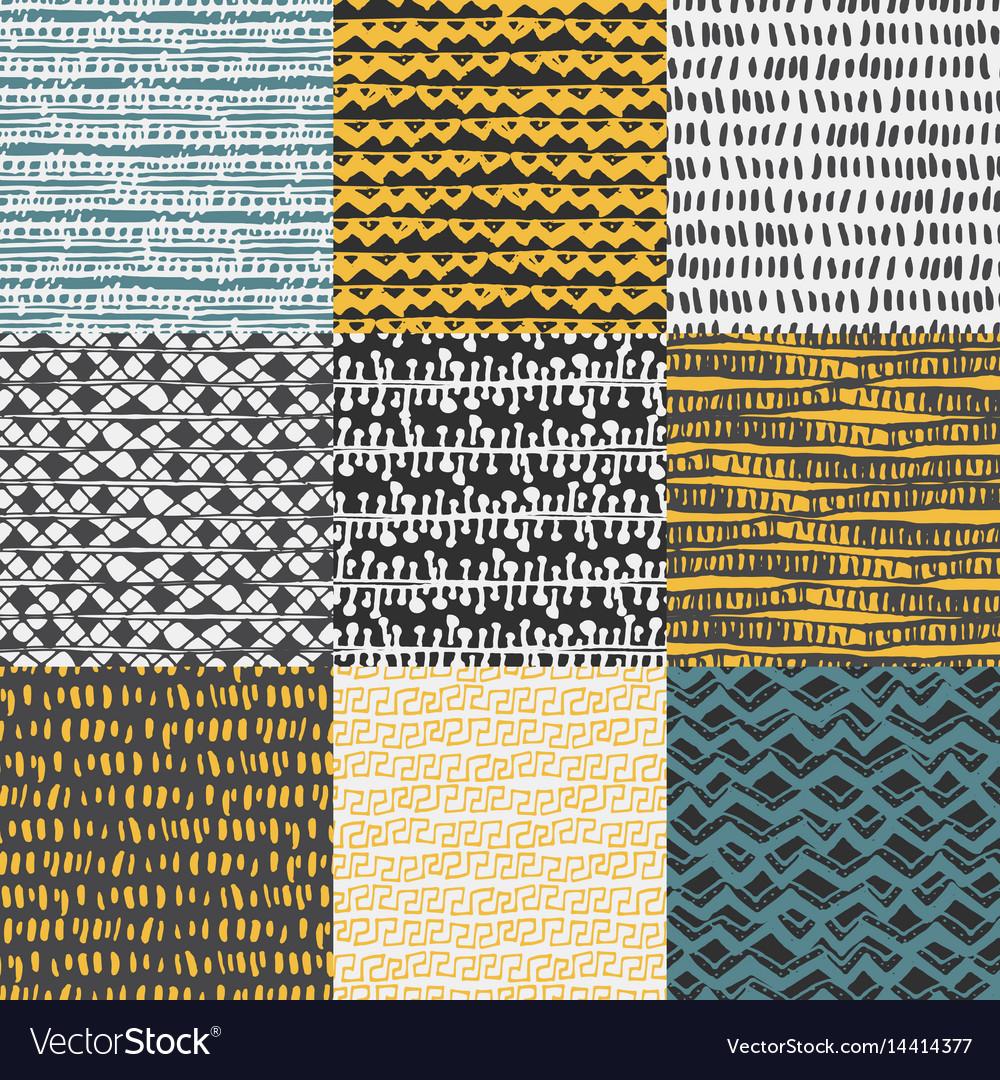 Set of 9 decorative hand drawn seamless pattern