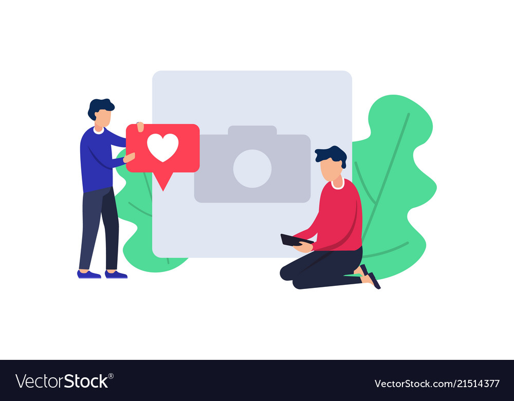 Social media with red heart symbol people using