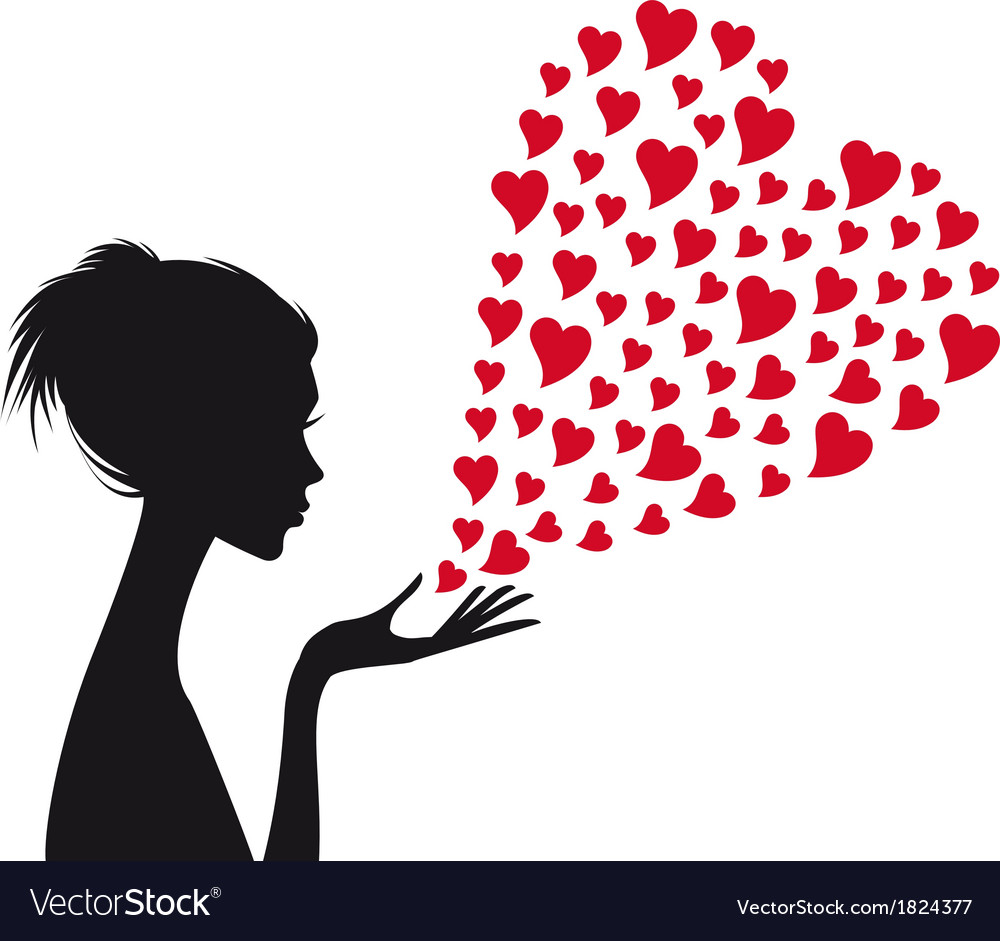Woman with red hearts vector image