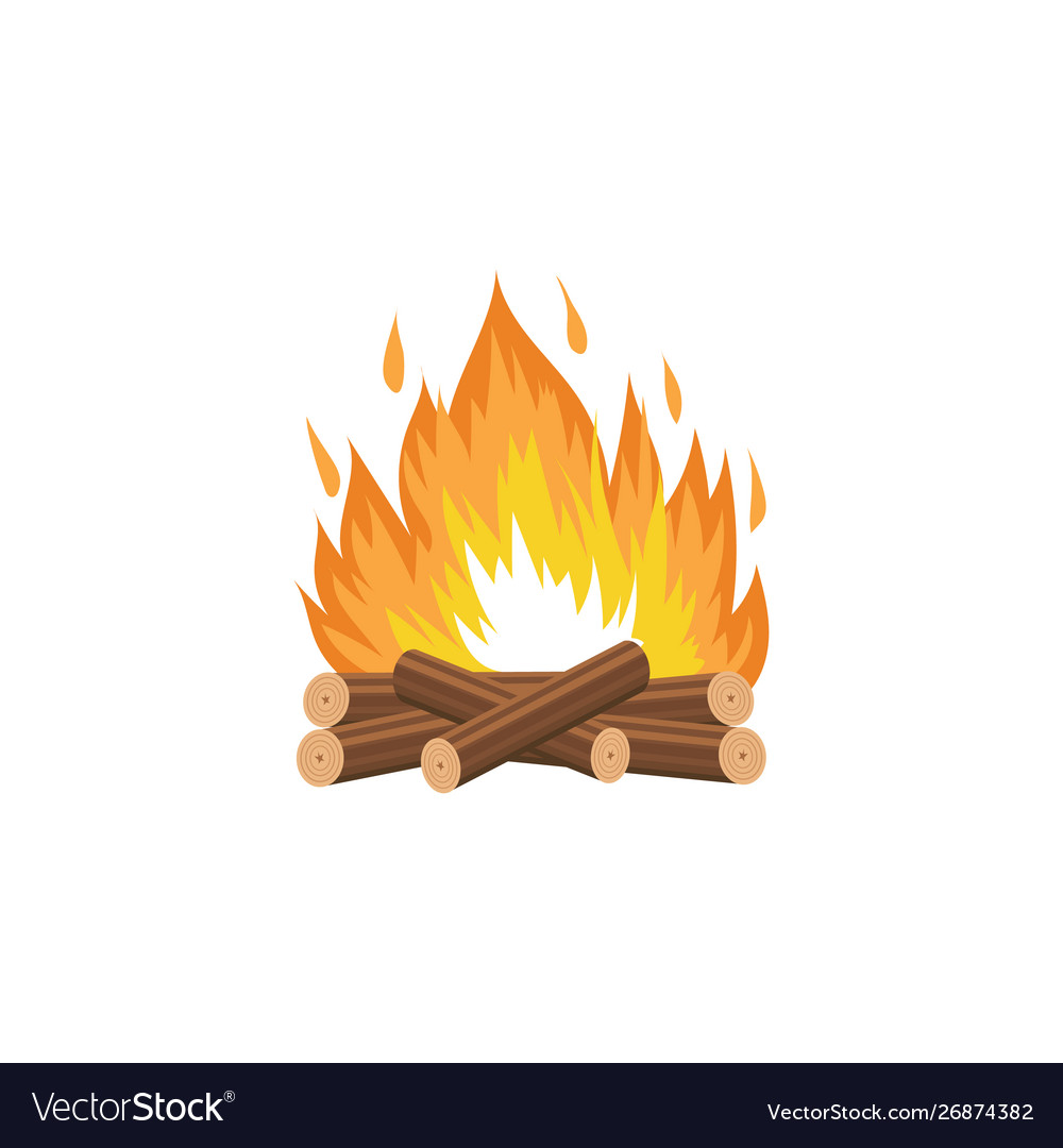 Campfire with burning wood logs and flame cartoon