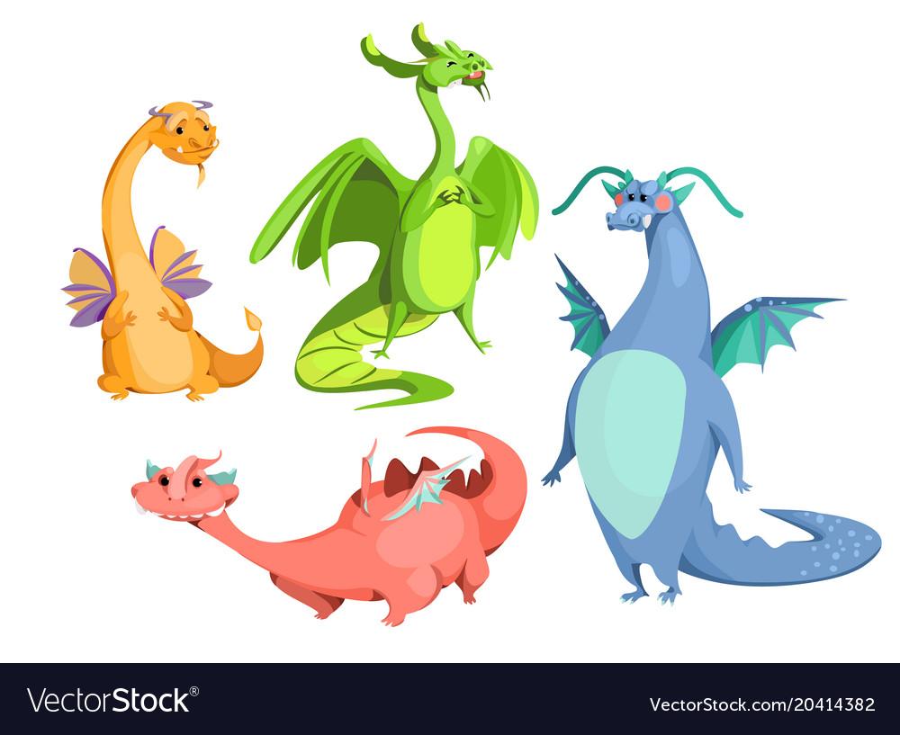 Cartoon cute magic colorful dragons set