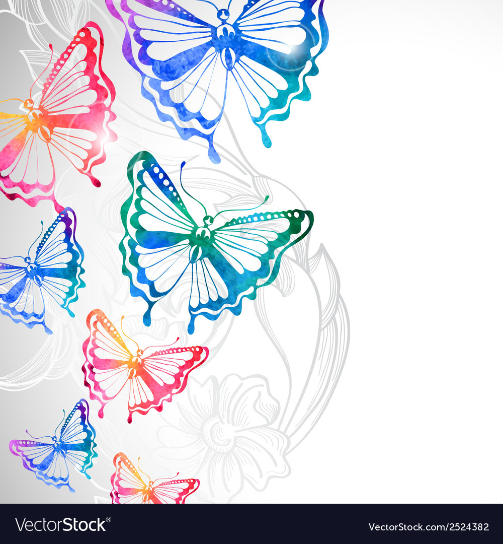 Colorful background with watercolor butterflies