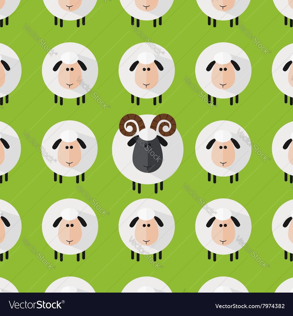 Cute Green Sheep and Ram Wallpaper vector image
