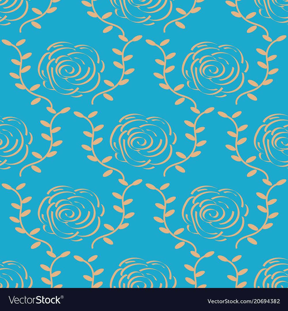 Elegant gold rose pattern on blue background vector image