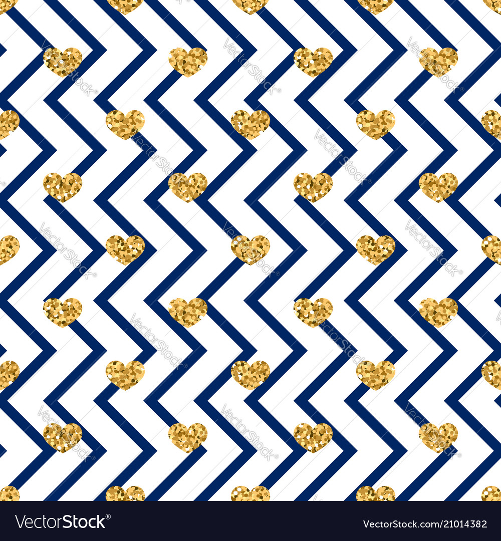 Gold heart seamless pattern blue-white geometric