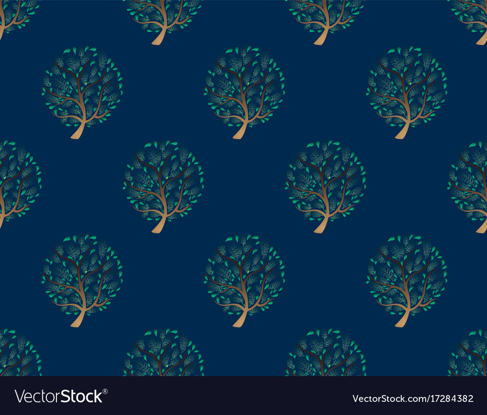 Green tree seamless on indigo blue background