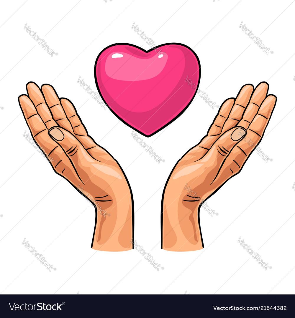 Heart in open female human palms black