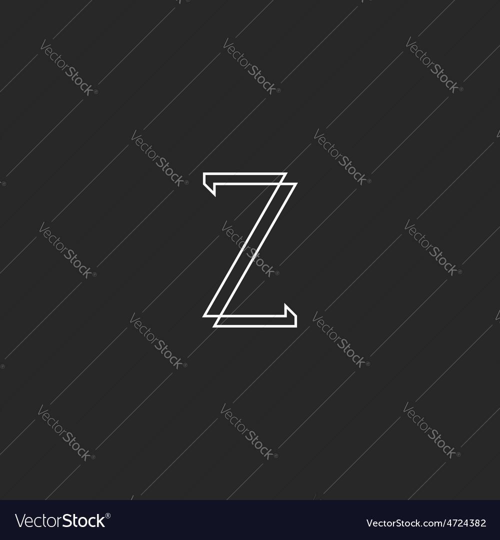 Letter Z elegant monogram mockup logo thin line