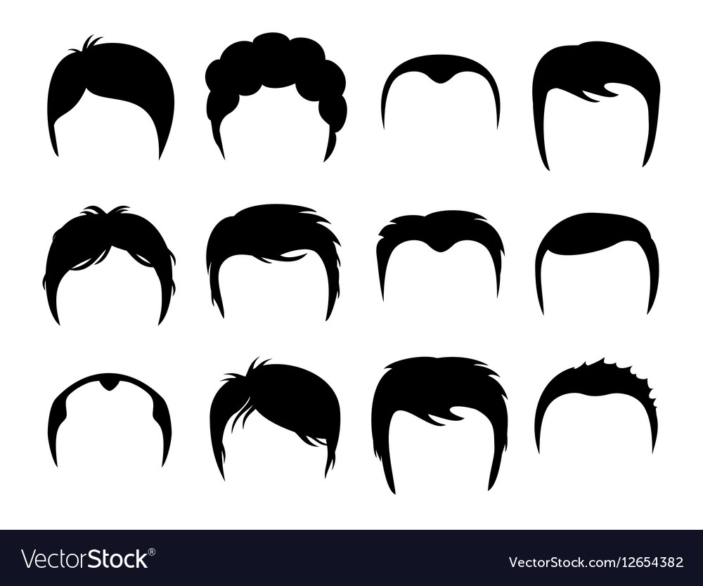 Men silhouette shapes of haircuts