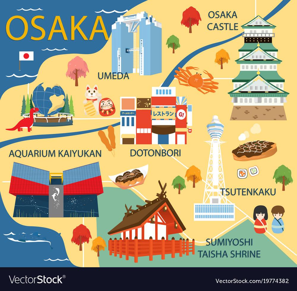 Osaka map with colorful landmarks japan design