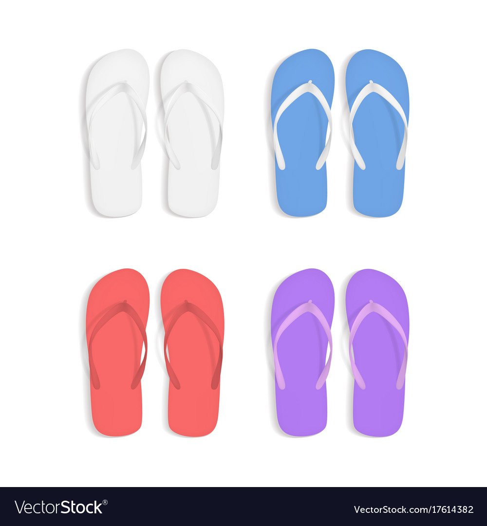8dd8b8a9b27 Realistic 3d colorful flip flops beach slippers Vector Image