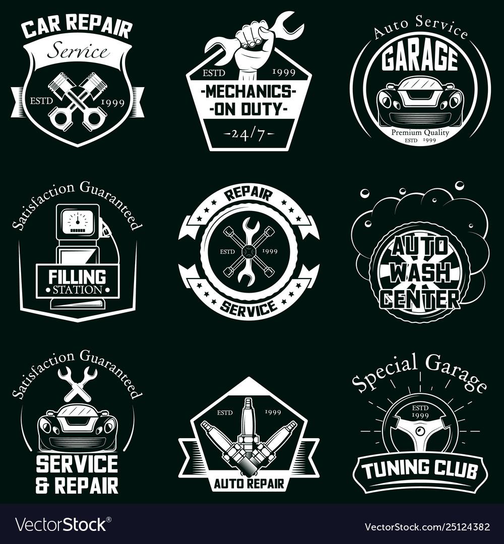 Set car service badges labels logo