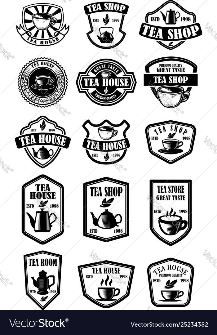 Set vintage tea house labels design element