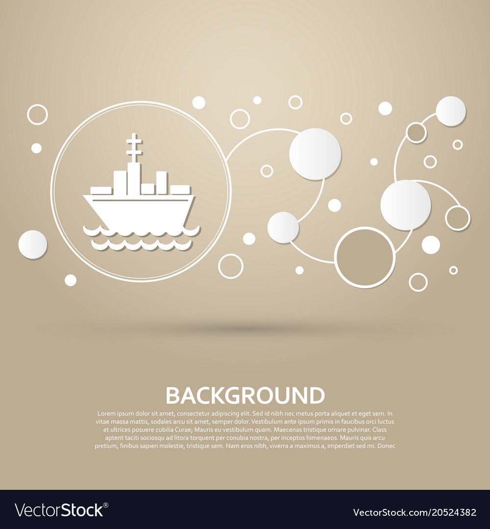 Ship boat icon on a brown background with elegant