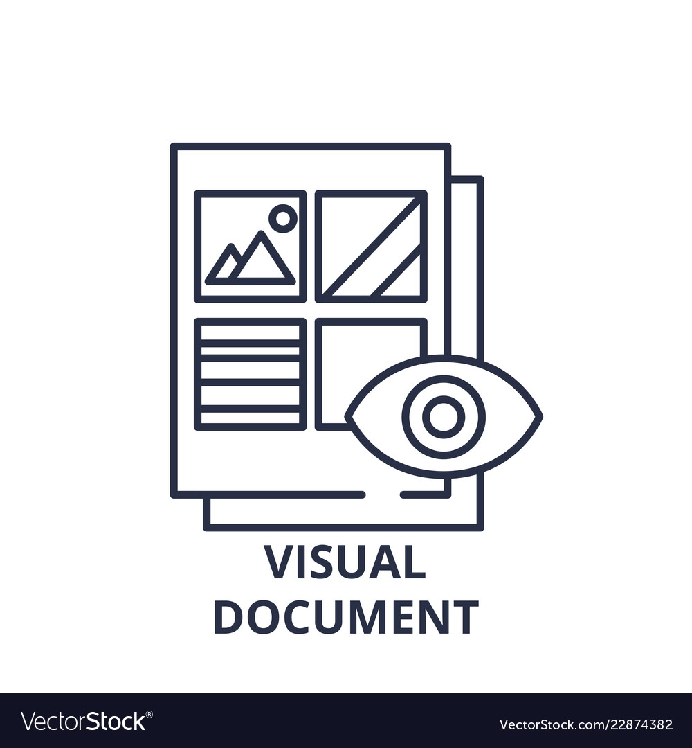 Visual document line icon concept visual document