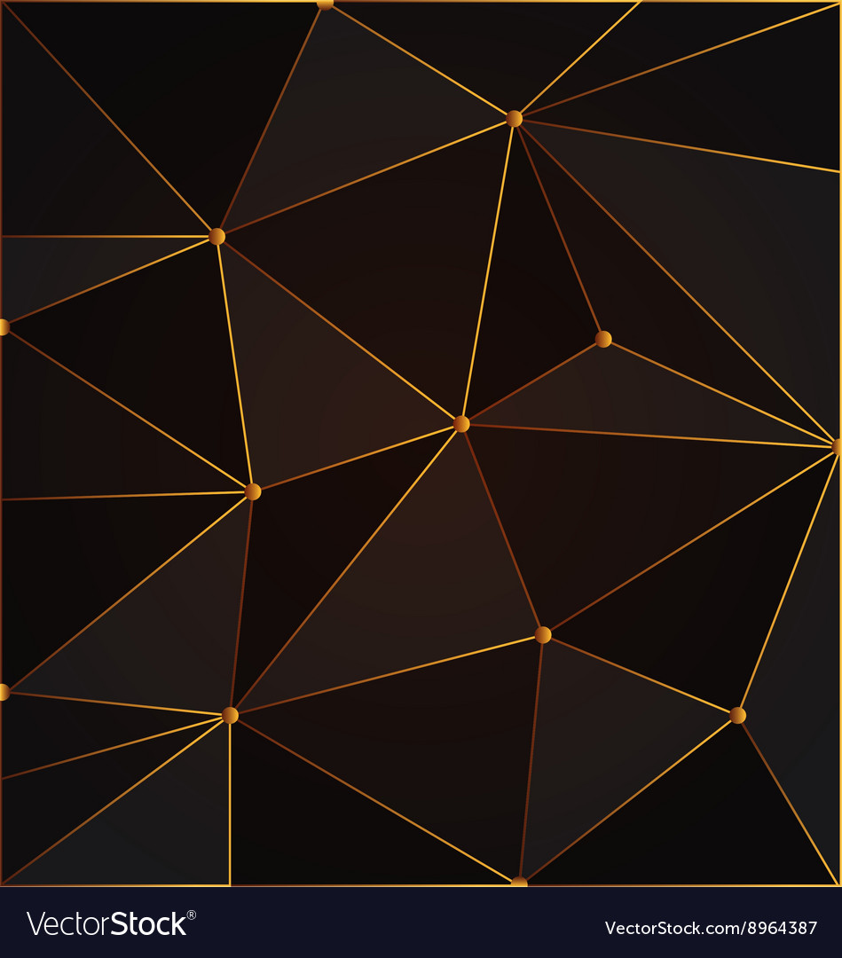 black and gold abstract polygon background vector image