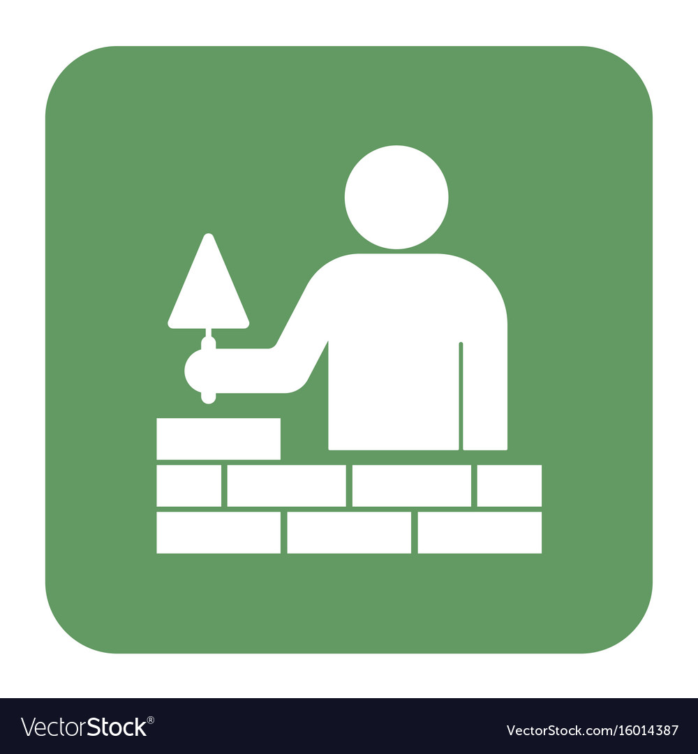 Brick layer tiler mason worker with trowe vector image