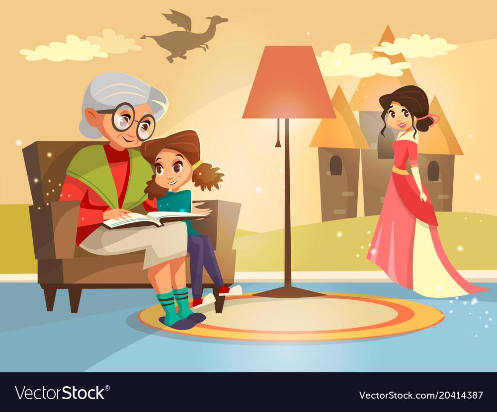 Cartoon grandmother reading to girl vector image