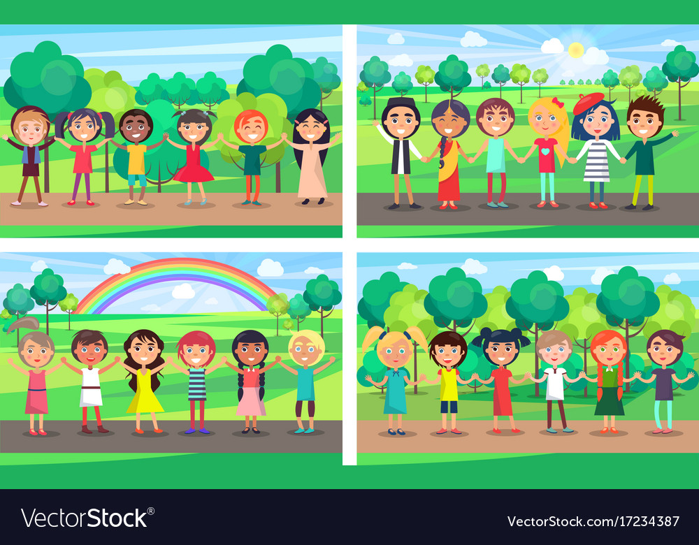 Children hold hands together out on nature set