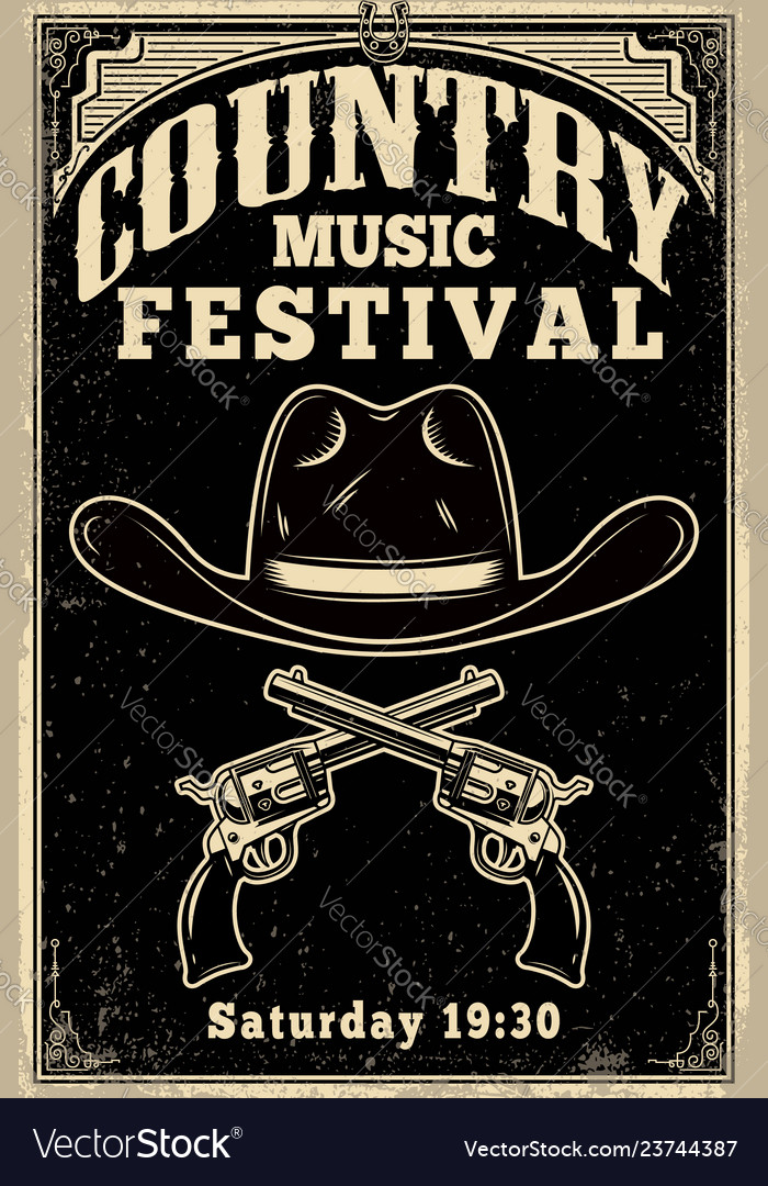 Country music festival poster template cowboy hat