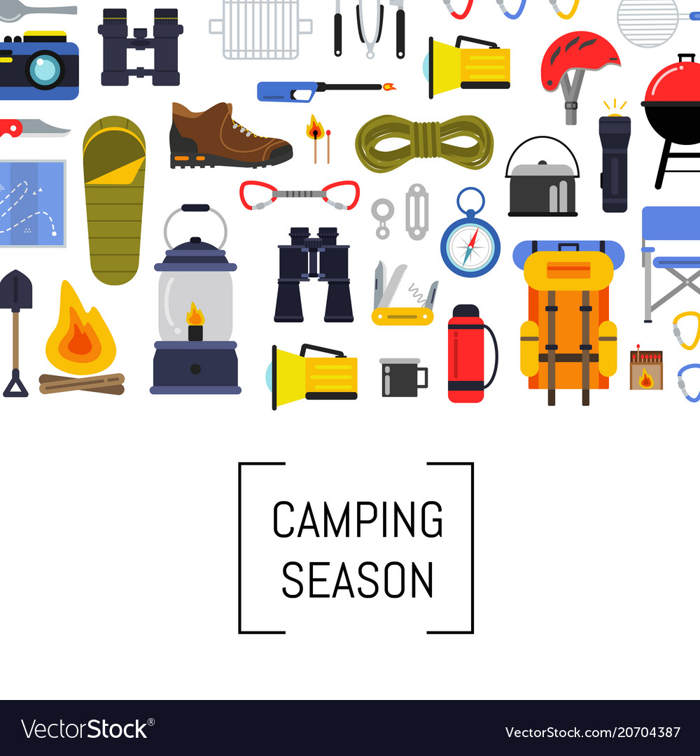 Flat style camping elements background