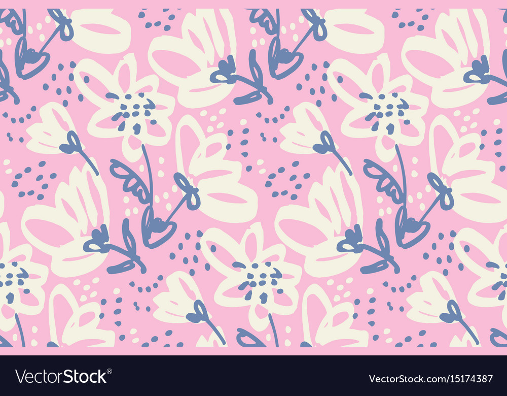 Hand drawn shabby floral seamless pattern vector image