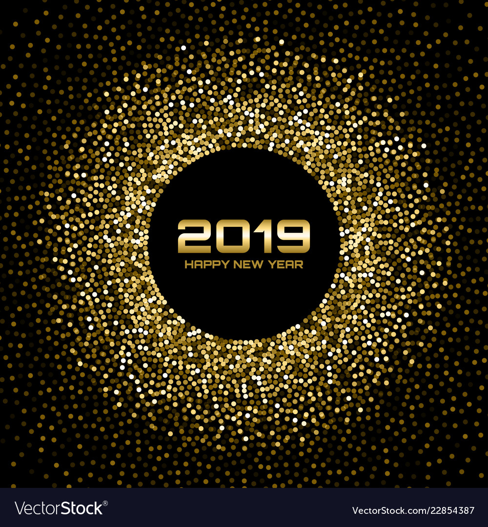 New year 2019 card background gold confetti