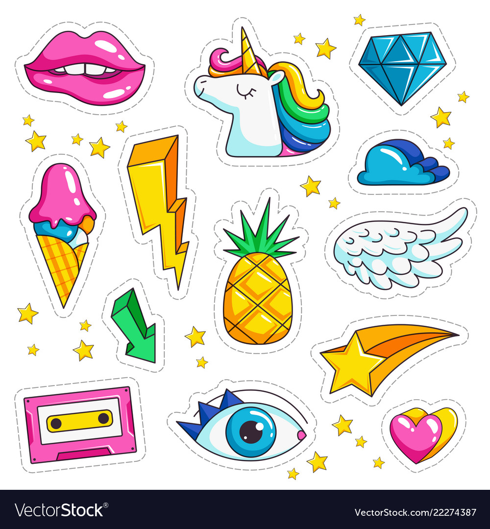 Retro stickers cute colored sweet kissing jacket vector image
