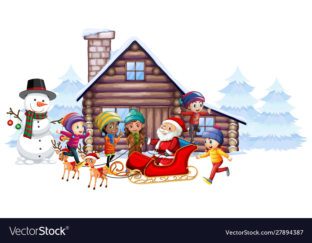 Santa claus and kids on sleigh