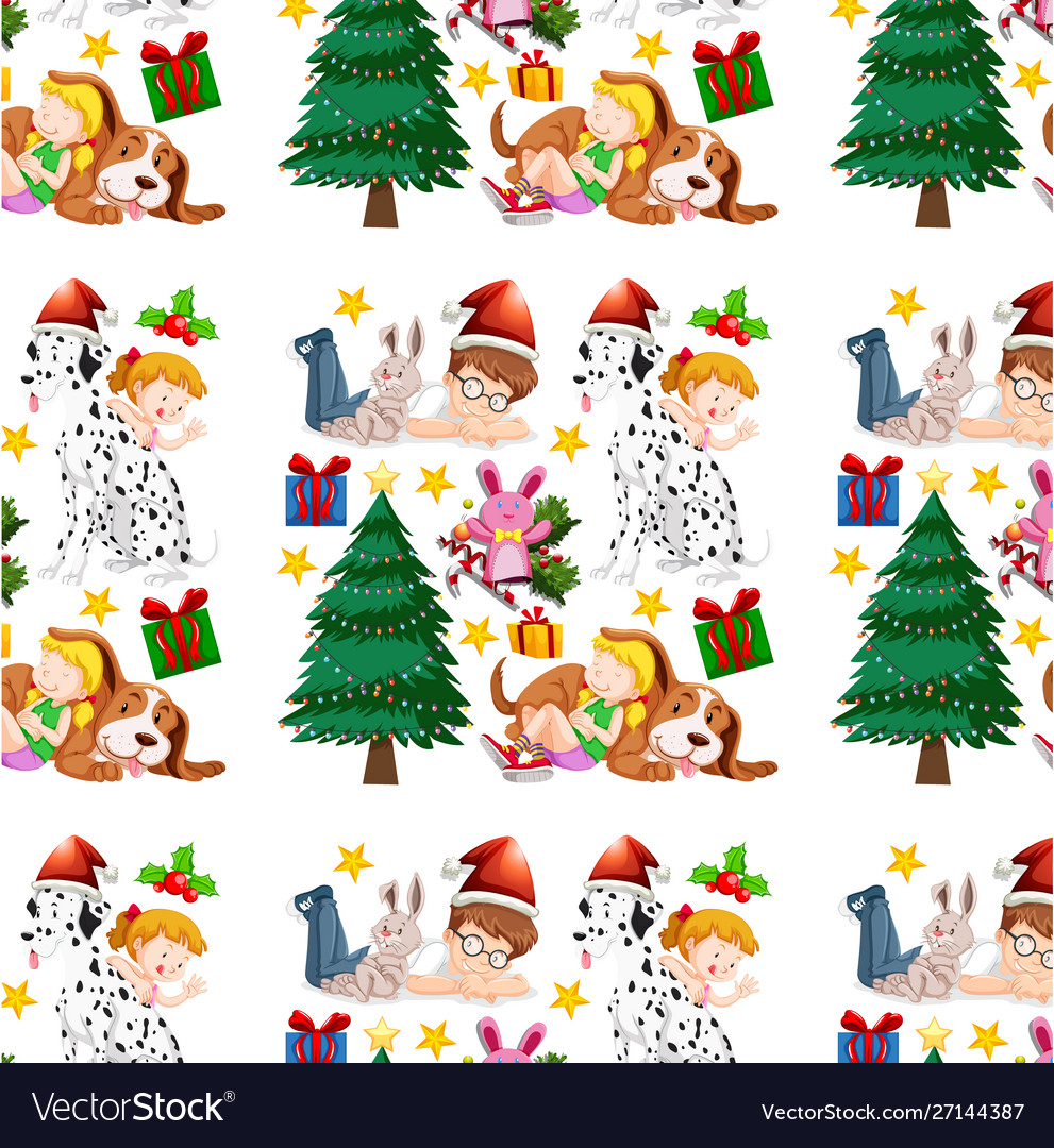 Seamless background design with children and
